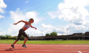 Sophia Warner in action on the track. Photograph: Kevin Quigley/Associated Newspapers