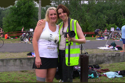 Brooke Artesi and Vickie Siculiano, Marketing Coach and photographer, at Lincoln Park Triathlon 2013 - Sunshine Prosthetics and Orthotics, Wayne NJ