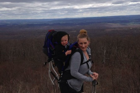 Brooke Artesi hiking with son Nicco