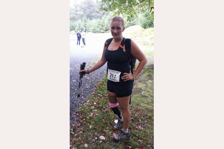 Brooke Artesi completing the 20-mile run/hike on the Shawangunk Ridge Trail.  9/21/14