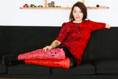 Model Nadine Richards wearing Alleles prosthetic covers  - Available at Sunshine Prosthetics & Orthotics in Wayne NJ