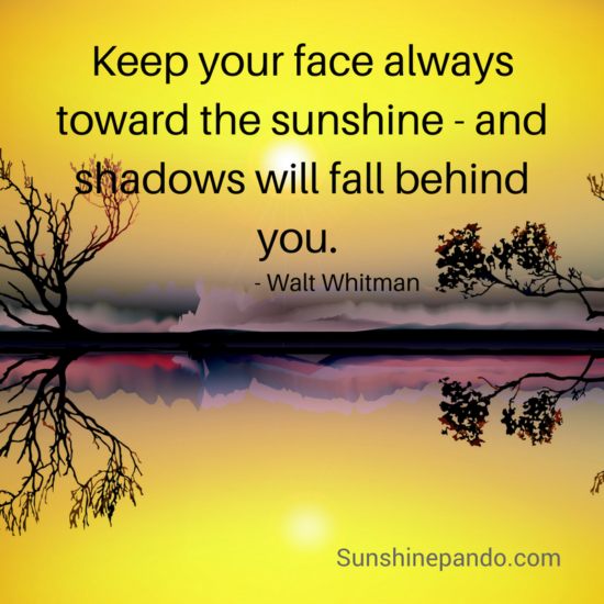 Keep your face to the sunshine and shadows will fall behind  - Walt Whitman - Sunshine Prosthetics and Orthotics